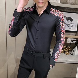 Image 4 - ファッションスプライス花のシャツの印刷男カミーサmasculina春の新パターン長袖スリムフィットシャツナイトクラブシュミーズオム