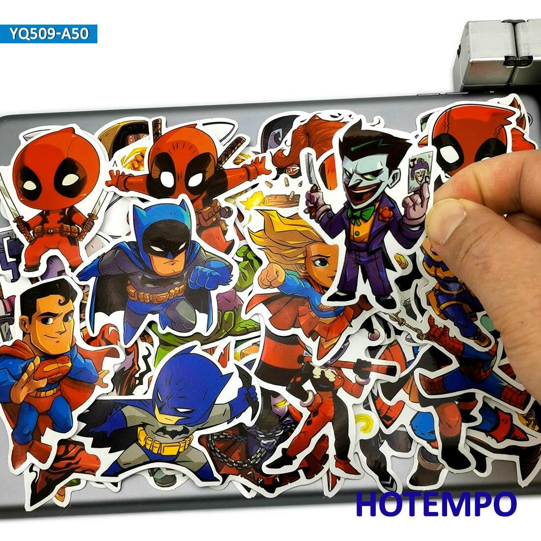 50pcs USA Comics Super Hero Q Style Anime Stickers Toy For Kids Mobile Phone Laptop Suitcase Skateboard Bike Car Cartoon Sticker