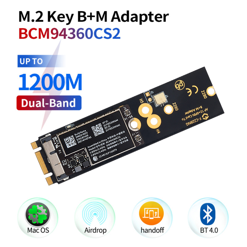 Dual Band BCM94360CS2 Hackintosh macOS Wifi Card 12+6 Pin Bluetooth WiFi Wireless Card Module to M.2 NGFF Key M Adapter for Mac(China)