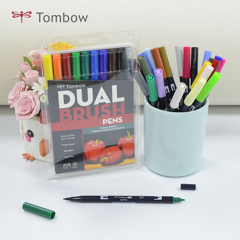 10 Colors Set TOMBOW ABT Soft Watercolor Brush Pen ABT Calligraphy Pens Suit Double Head Markers Drawing Painting Art Supplies