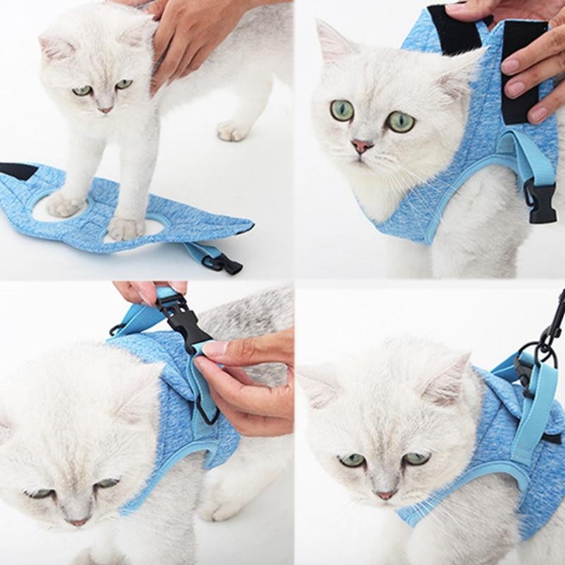 Шлейка для кошек, жилет для маленьких кошек и собак с отражающим ремешком, Мягкая сетчатая Регулируемая прогулочная куртка для кошек, для ко...
