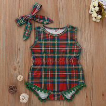 Baby Rompers Children Autumn Clothes Fashion 2019 Green And Red Plaid Printing Sleeveless For Kids Girls