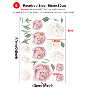 Image 5 - Adesivos de parede peônias rosas e brancas, decoração em aquarela para quarto de crianças, sala de estar, casa, decalque de parede, floral, home decor