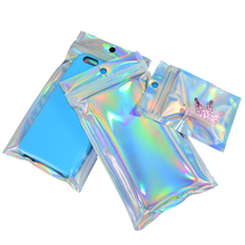 25pcs/Pack Holographic Rainbow Color Cosmetics Jewelry Plastic Bags for Phone Case Other Packaging Materials Mailer