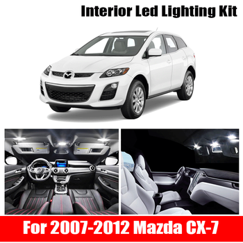 цена на 12pcs No Error White Canbus LED Light Car Bulbs For 2007-2012 Mazda CX-7 Map Dome Trunk License Plate Lamp Interior Package Kit