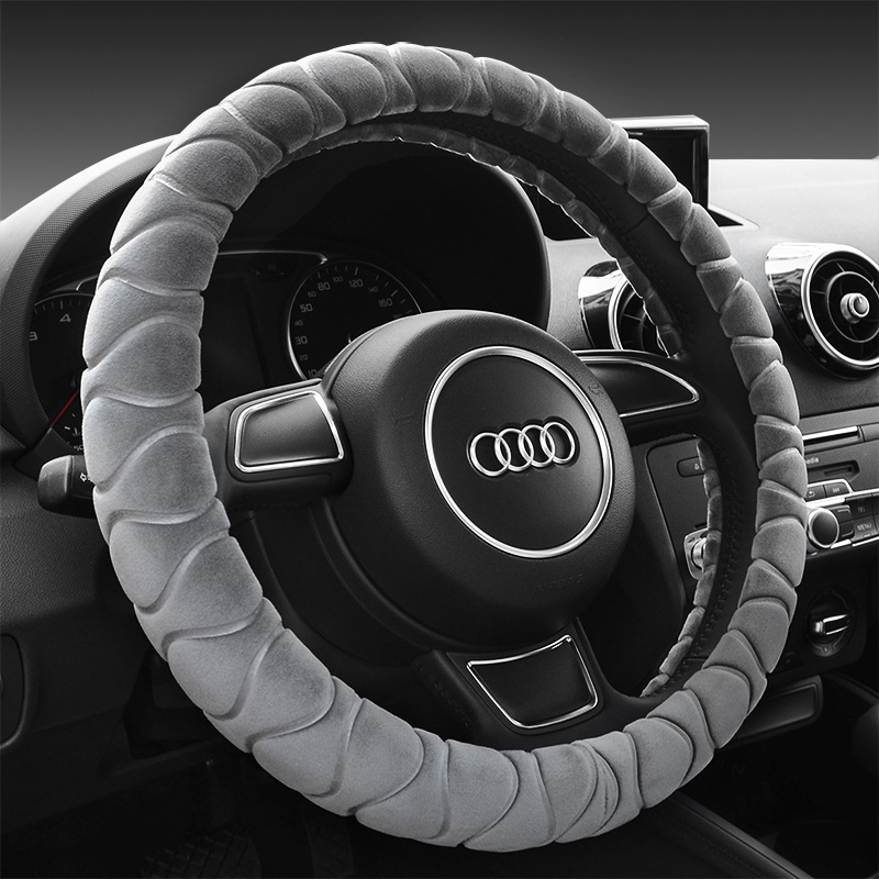 Fashion classic 38CM winter plush warm car steering wheel cover feel soft and warm thermostat stereo style massage palm