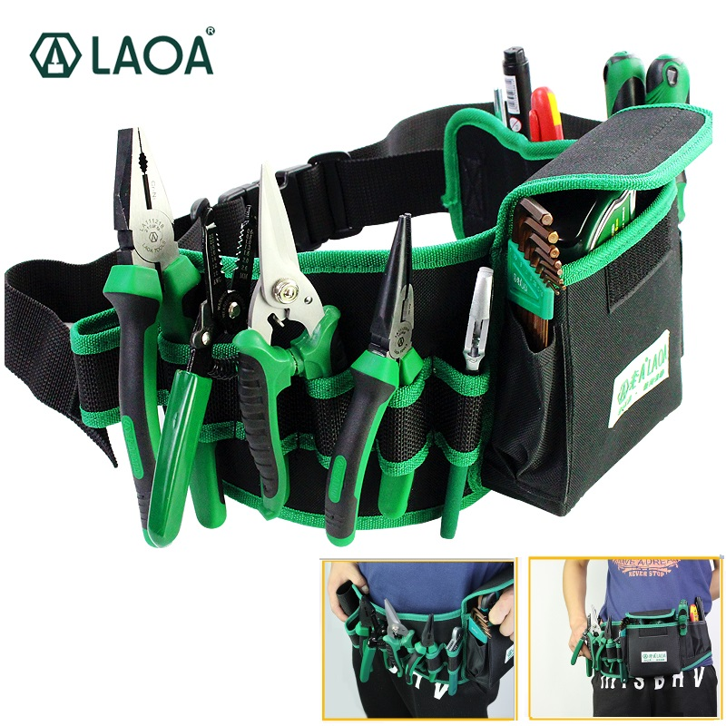 LAOA LA212806 Waterproof Oxford Cloth Fabric Electrician Tool Bag Double Layers Tool Bags Storage Package Waist Bag Pocket