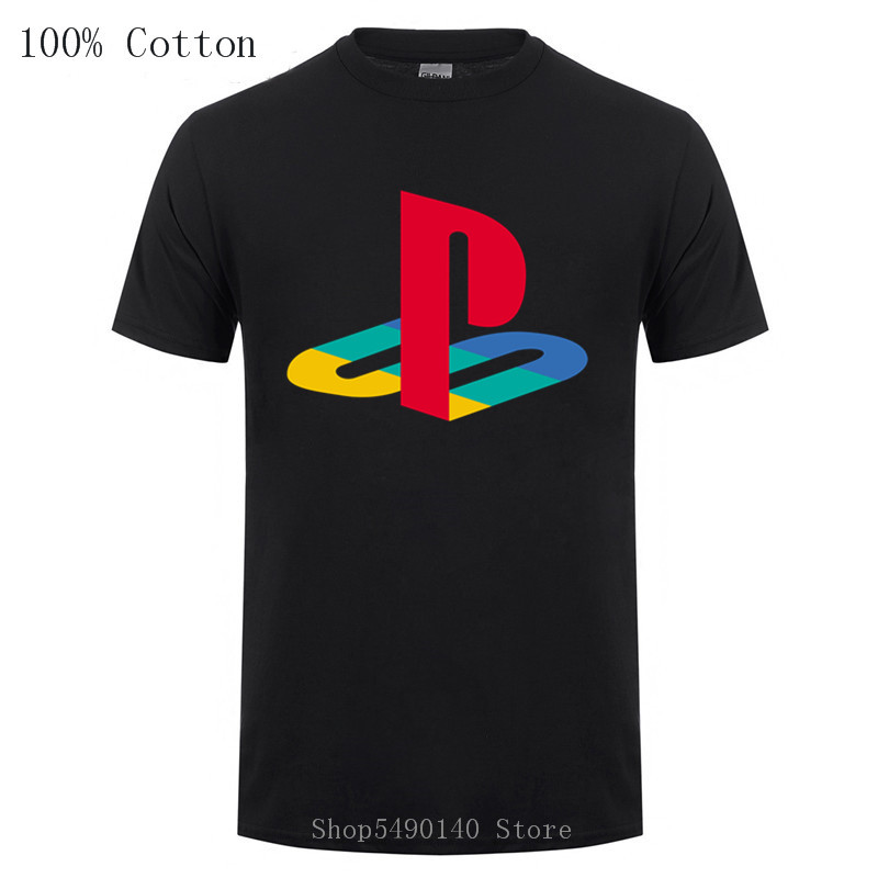 Retro PS Logo Tshirt Xbox Vedeo Game Playstation T-Shirt Men Streetwear Tee Shirt Hip Hop Pure Cotton PS1-PS4 Boys Short Sleeves
