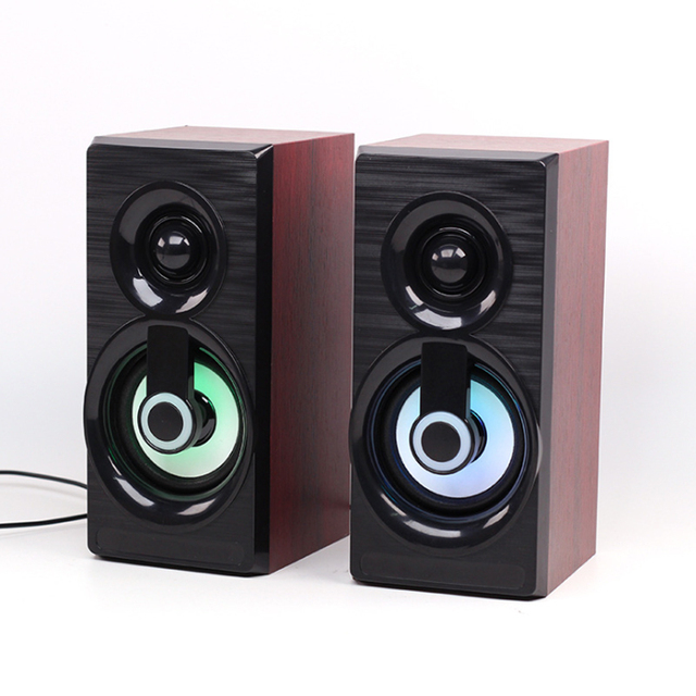 Music Speakers USB Wired Mini Computer Speakers Bass Stereo Wooden PC  Home Speaker 3.5mm AUX For Laptop Desktop Smart Phones