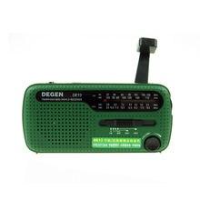 Degen de13 rádio fm am sw portátil, rádio de emergência com manivela dínamo, receptor universal, para internet