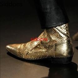 Men Boots Pointed Toe Low Heels Pu Leather Gold Shoes Bota Coturnos Masculino Botas Hombre Blancas Big Size 38-47 Men Boots D85