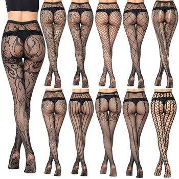 جديد وصول رقيقة النساء كلسات مثير الجوف الصلبة fishnet الجوارب ملابس للنساء الجوارب السوداء مثير الملابس الداخلية