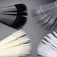 Nail-Art-Practice-Tools Clear White Black 50pcs Sticks Tips Display Fan-Style Oval