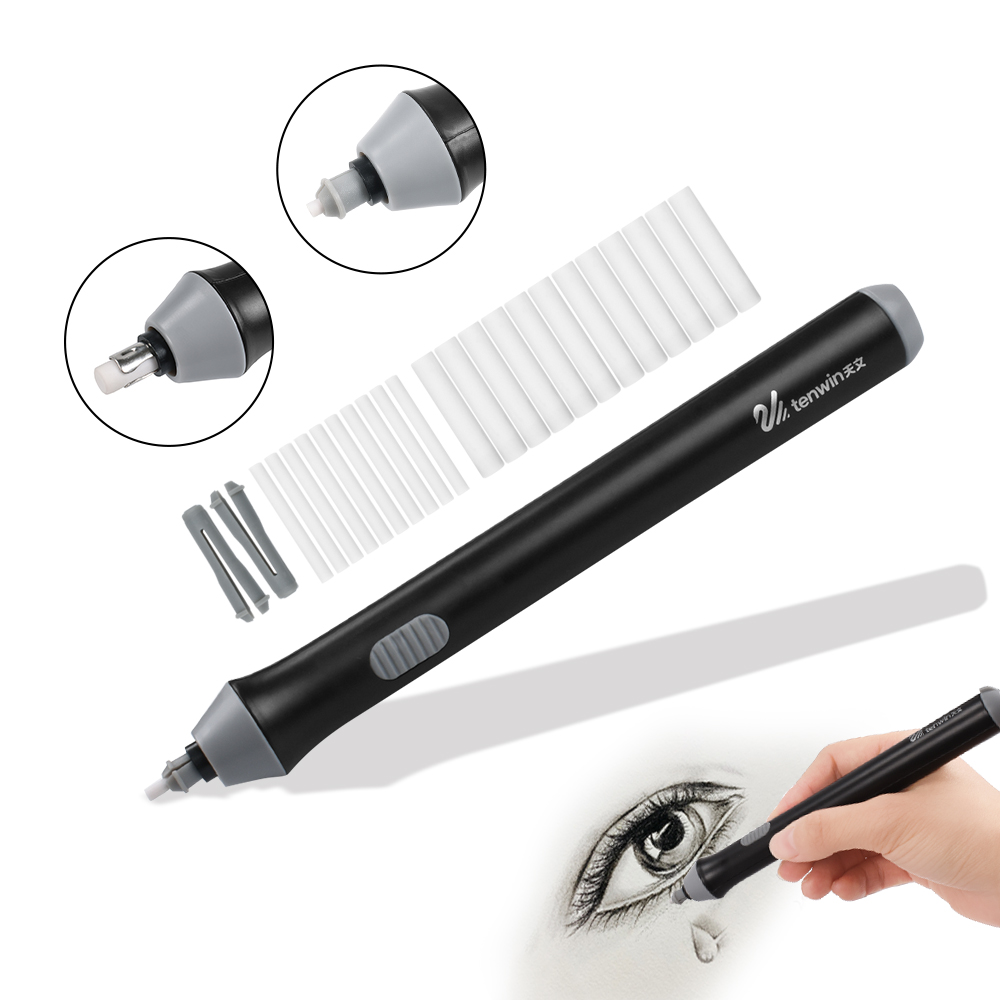 Adjustable Electric Pencil Eraser Kit Battery Operated Highlights Erasing Effects for Sketch Drawing with 22pcs Rubber Refills
