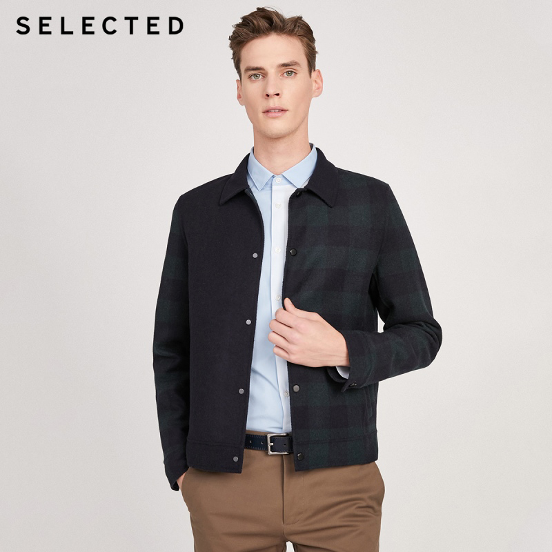 SELECTED England Plaid Double-faced Wool Coat Men's Woolen Outwear S|419427573