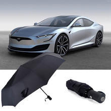 For Tesla MODEL S MODEL 3 MODEL X MODEL Y Automatic Business Umbrella Car Logo Original Portable Umbrella Folding Rain Parasol