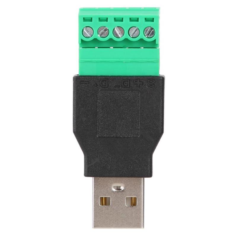 ALLOYSEED USB2.0 Male To 5Pin Screw Terminal Connector Converter Adapter With Shield Connector USB Plug Power Converter Adapter