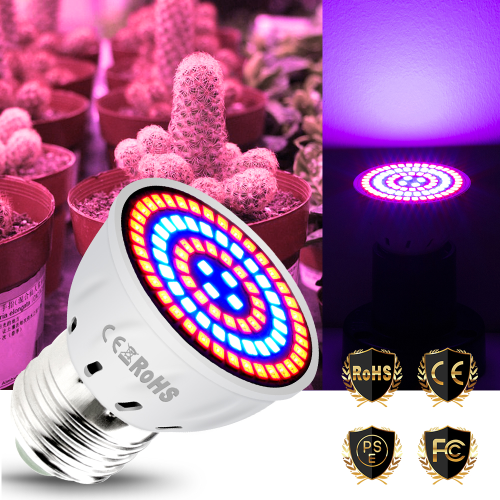 E27 Led Full Spectrum Grow Light GU10 Phyto Lamps MR16 Led Bulbs Seedling 48 60 80leds B22 Plant Growing Lamp For Greenhouse E14
