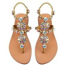 Gladiator summer crystal sandals flat woman wedding