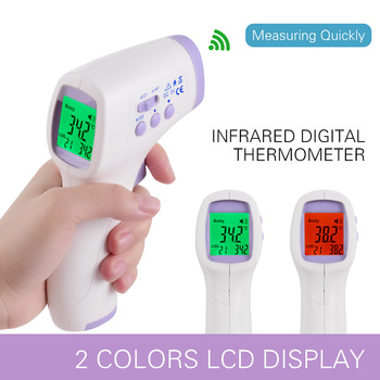 Thermometer Non-contact Infrafred IR Thermometer Forehead Ear Thermometer 1s Reading Beep Alarm LCD Display Tri-color Backlight