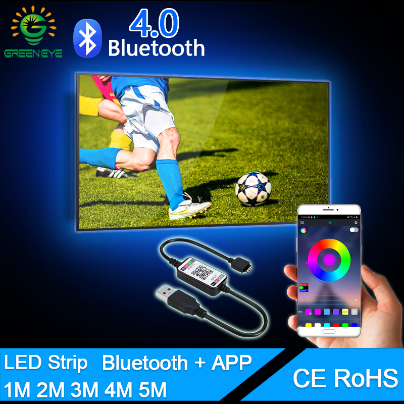 Música do bluetooth RGB Tira CONDUZIDA 5V USB TV LED luzes de Tira SMD5050 2835 5M 1M 2M 3M 4M 0.5M Néon Flexível Tira CONDUZIDA Backlight TV