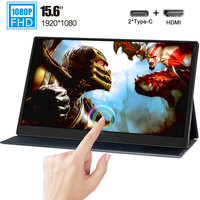 15.6 inch 1080p type c Touch monitor miniHD 1920x1080 touchscreen display with Leather case for laptop phone computer MacBook NS