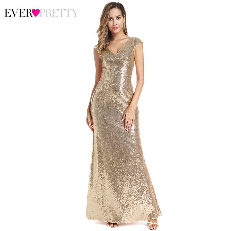 Sexy Arabic Evening Dresses Long Ever Pretty Sequined Double V-Neck Sleeveless Rose Gold Mermaid Party Gowns Robe De Soire