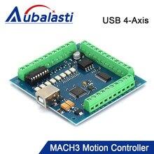 Aubalasti CNC USB MACH3 Carte de Dérivation 100Khz 4 Axes Gestionnaire D'interface Contrôleur De Mouvement Carte Pilote pour CNC Gravure 12-24V