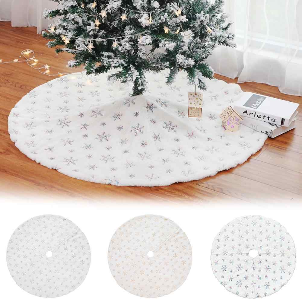 90/122cm Christmas Tree Skirts Round Snowflake Embroidery Xmas Tree Skirt Cover Floor Mat for Living Room Carpet Christmas Decor