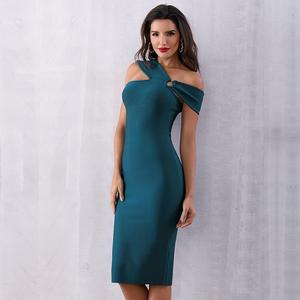 Image 3 - 2020 Summer Elegant Party Bodycon Bandage Dress Women Green Sleeveless One Shoulder Sexy Night Club Female Vestidos Clothing