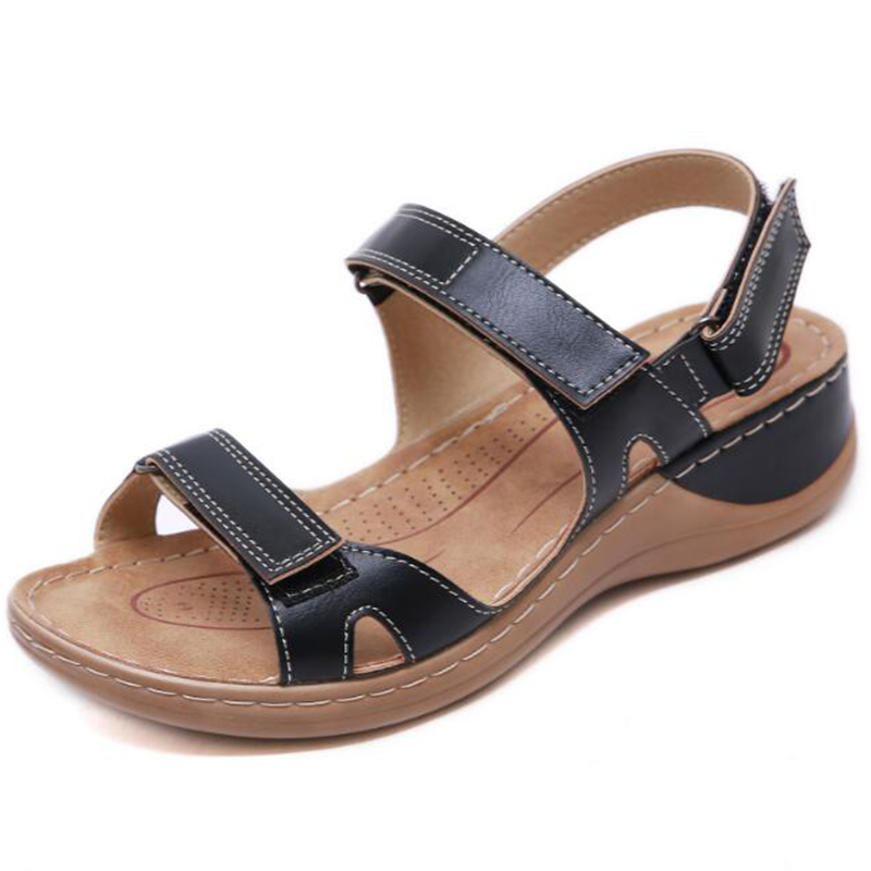 Image 5 - BEYARNENew summer sandals for women non slip, sewing thread sandals, casual open toe shoes for ladies, platform beach shoesL017Low Heels   -