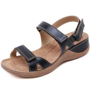 Image 5 - BEYARNENew صنادل الصيف للنساء عدم الانزلاق ، خيط الخياطة الصنادل ، عادي مفتوح حذاء مزود بفتحة للأصابع للسيدات ، منصة الشاطئ shoesL017