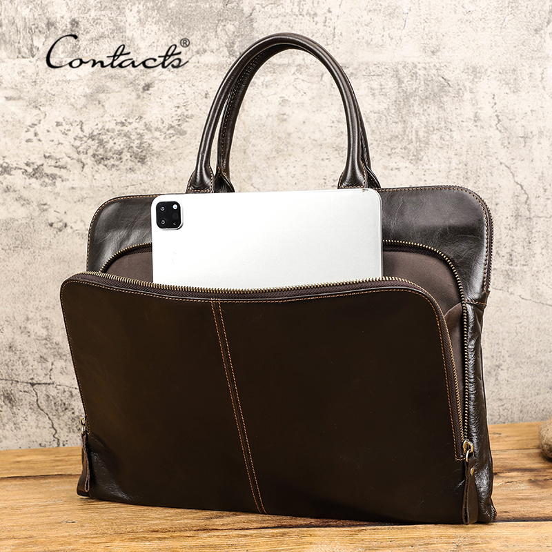 CONTACT'S Business Men Laptop Bag for 15 inch Genuine Leather Briefcase Large Capacity Handbag Leather Computer Laptop Bags Male