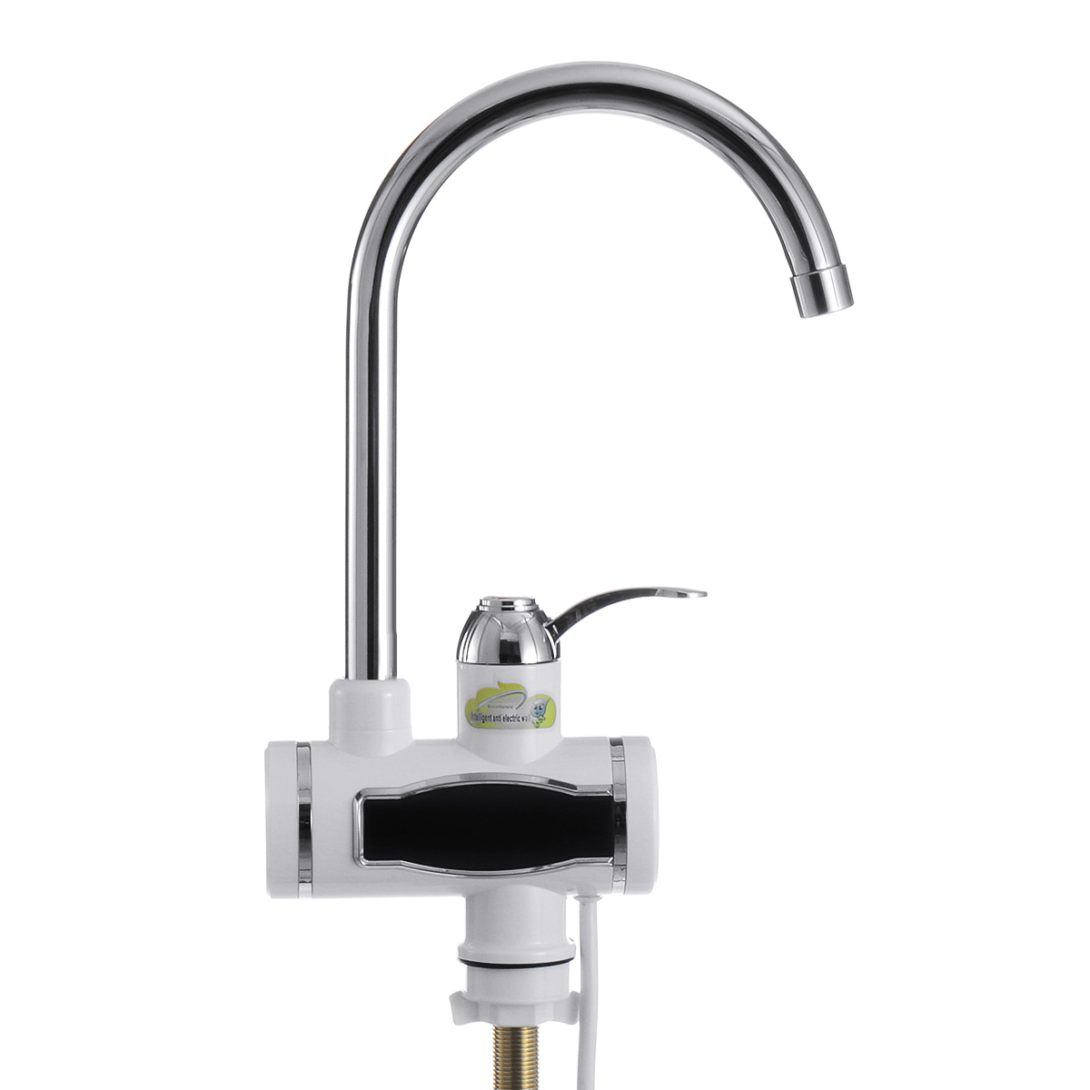 Home 220V 3000W Instant Electric Faucet Tap Hot Water Heater Stainless Steel Under Inflow LED Display Bathroom Kitchen