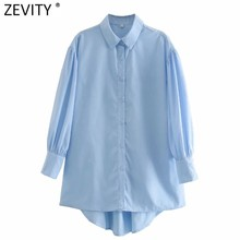 Zevity moda donna tinta unita camicie lunghe donna lanterna manica pieghe camicette Chic Roupas Femininas Chemise top LS7364