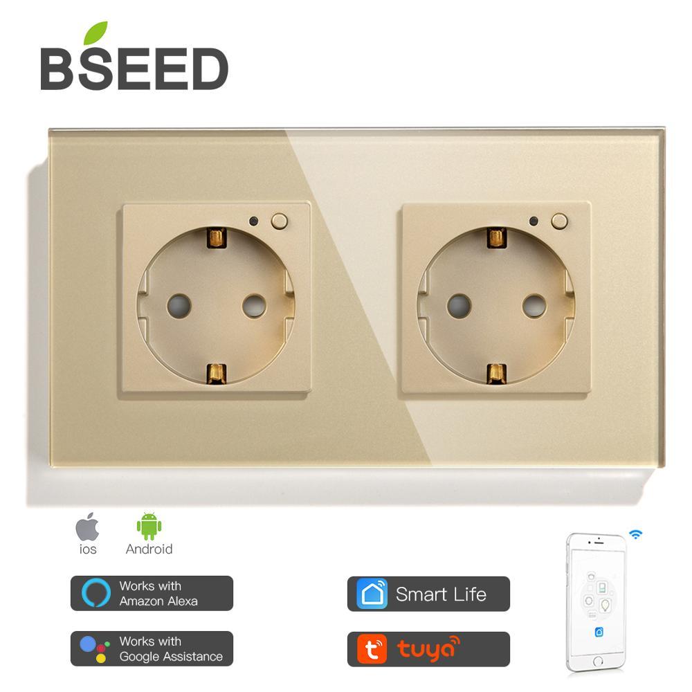 Bseed Dubbele Stopcontact Eu Standard Crystal Glass Wifi Stopcontact 3 Kleuren Wit Zwart Gouden Werk Met Tuya Smart leven 3
