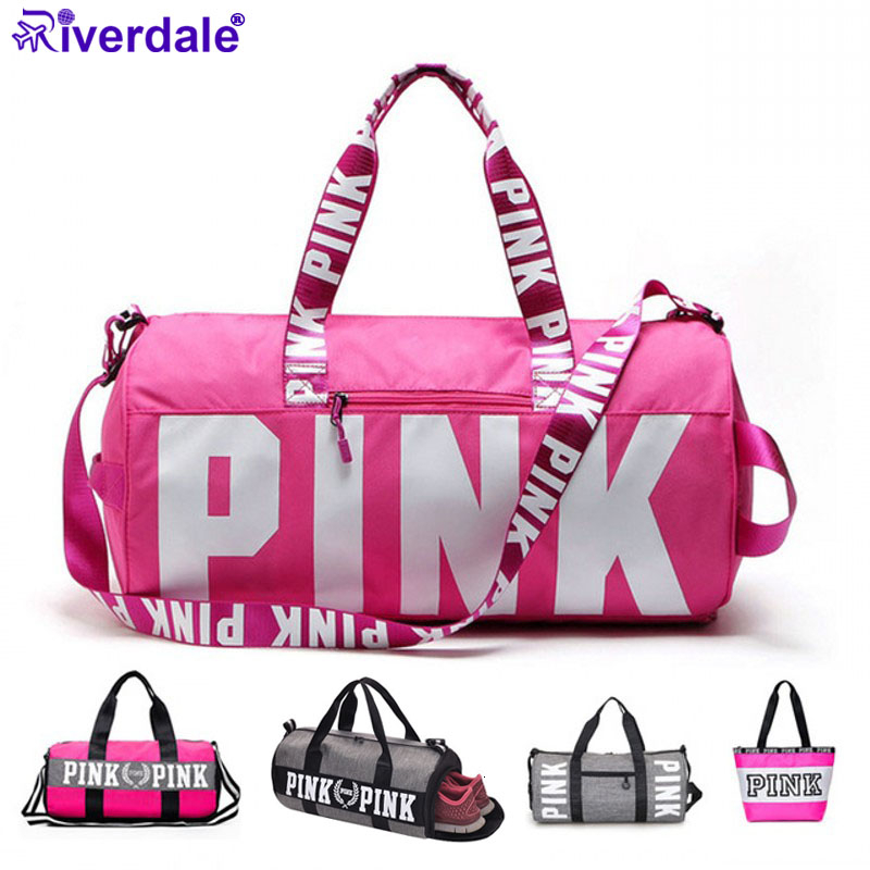 2019 Pink Brand Men Women Travel Bag Shoulder Bag Portable Ladies Weekend Package Waterproof Duffel Bag Bolsa Sac De Sport Bags title=