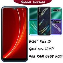 Smartphone 9A Quad Core, Android 13mp, HD, pantalla gota de agua de 6,26 pulgadas, 4GB RAM, 64GB ROM, desbloqueado, identificación facial MTK