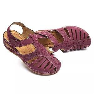 Image 5 - BEYARNESummer kobiety panie dziewczyny wygodne wypoczynek kostki HollowRoundToe sandały miękkie podeszwy buty sandalias de verano para mujer