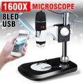 5V DC Профессиональный 1600X USB 8 светодиодный зум USB цифровой прицел Лупа эндоскопа камера + видео стенд