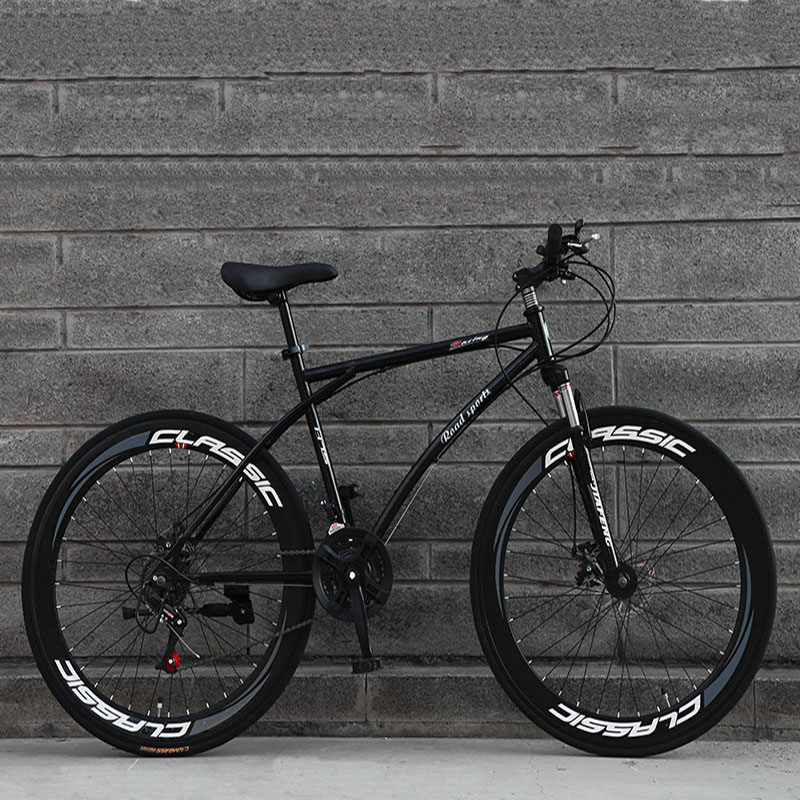 26-Inch 21-Speed Road Bicycle 60-Blade Rim Double Disc Brake Solid Tire Shock Absorption Bike Adult Students