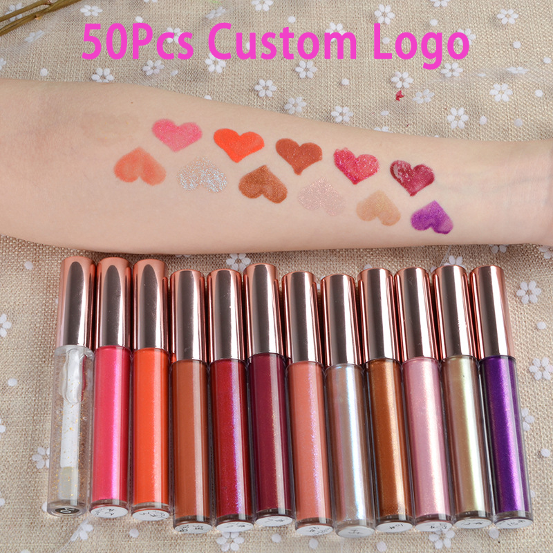50Pcs 12 Colors Custom Logo Shimmer Shiny Long Lasting Waterproof  Liquid Lipgloss Clear Nude Glitter Makeup Lipstick Wholesale