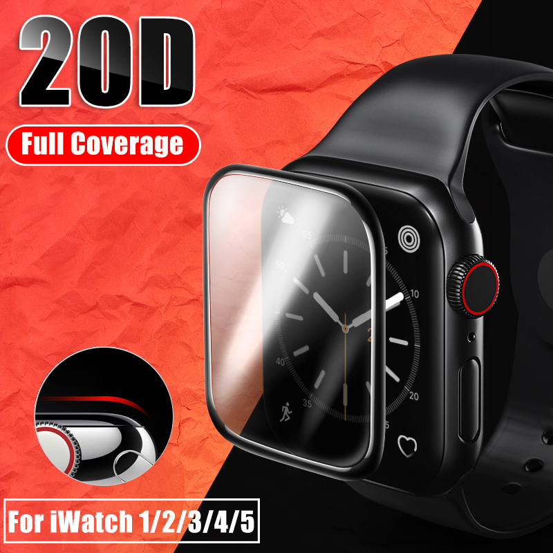 20D Curved Full Cover Tempered Glass For Apple Watch 1 2 3 4 Screen Protector For Iwatch 38 40 42 44mm Protective Glass Film-in Phone Screen Protectors from Cellphones & Telecommunications