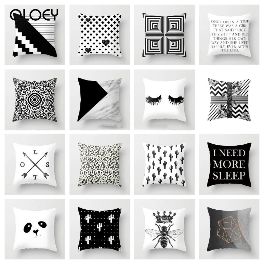 Geometric Pillowcase Black And White Polyester Throw Pillow Case Striped Dotted Grid Triangular Geometric Art Cushion Decoration
