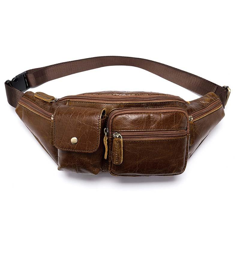 Men High Quality Genuine Leather Cowhide Fashion Chest Pack Sling Back Pack Riding Cross Body Messenger Single Shoulder Bag