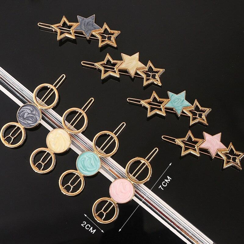 Hairpin For Girls Women Headwear Pentagram Round Gold Children Kid Hair Accessories Fashion Gift Hairgrip Hairwear