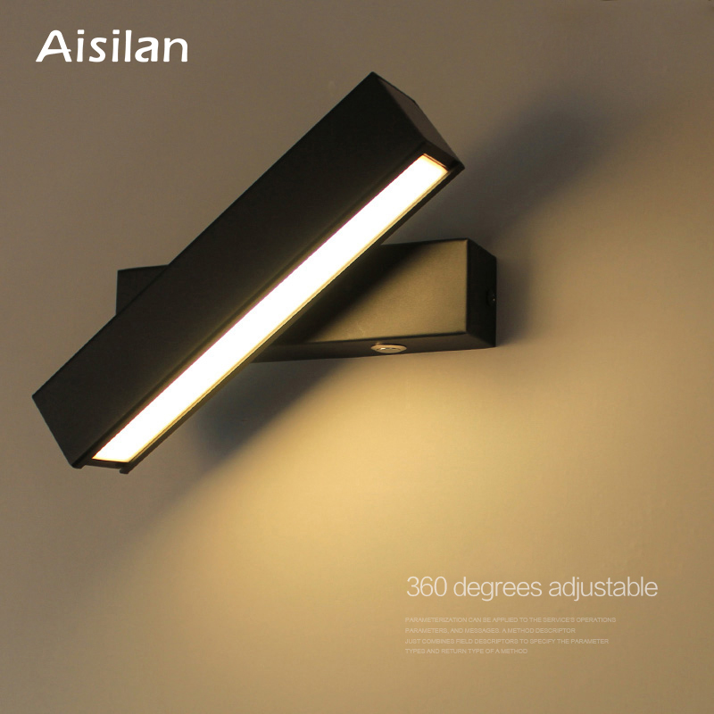 Aisilan Nordic Wooden LED Wall Lamp Modern Adjustable Wall Lighting for Bedroom Living room Porch For
