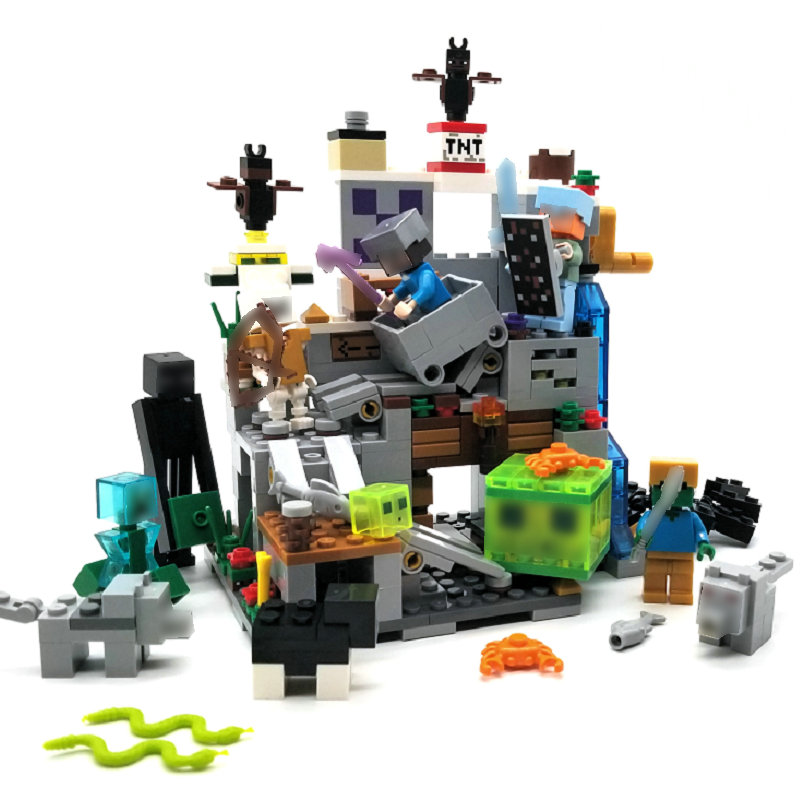 The Mine Mountain Cave Building Block With Steve Action Figures Compatible LegoINGlys MinecraftINGlys Sets Toys For Children