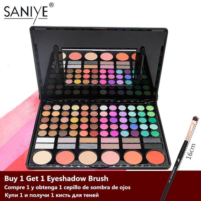 سانيي 78 لون عينيه لوحة مع مرآة الجمال المزجج متعدد الألوان ظلال العيون لوحة أحمر الخدود ماكياج كبير 78P04