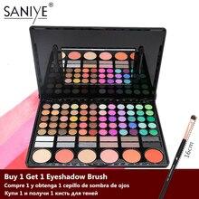SANIYE 78 สีอายแชโดว์ความงามกระจกเคลือบ Multicolor Eye Shadow Blusher Palette แต่งหน้าขนาดใหญ่ 78P04